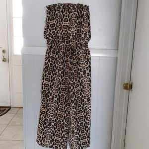 NWT A hint of blush leopard strapless jumpsuit